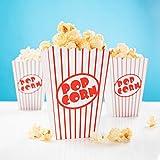 24x Popcorn Tüte rot-weiß gestreift - Popcorn Box für Kinoabend, Hollywood Party & Co Kinoabend zu Hause Heimkino