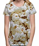 Popcorn Design All Over Sublimation Print Fun Cinema Treat Unisex Womens T Shirt - S