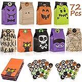 Viccess 72 Halloween Papiertüte Geschenk Tasche Kindergeburtstag Partytüten Papier Kindergeburtstag Geeignet Für Party Halloween Dekoration